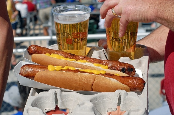 beer hot dog baseball