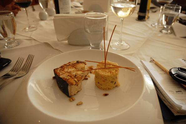 Swordfish with habanero pineapple sauce.