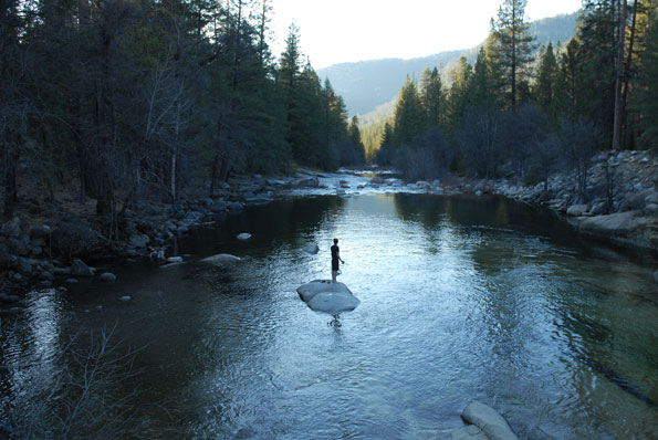 Merced River in Wawona inside Yosemite Park.