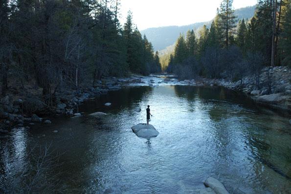 Merced River in Wawona inside Yosemite Park.