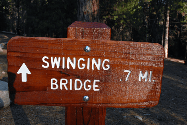 Swinging Bridge Trail Head, Wawona in Yosemite.