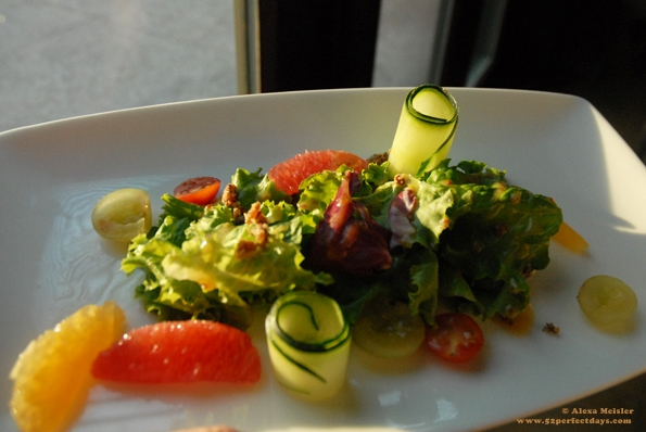 Arugula and spinach salad with grapefruit, candied nuts and mustard dressing from Villa Del Palmar, Loreto, Mexico