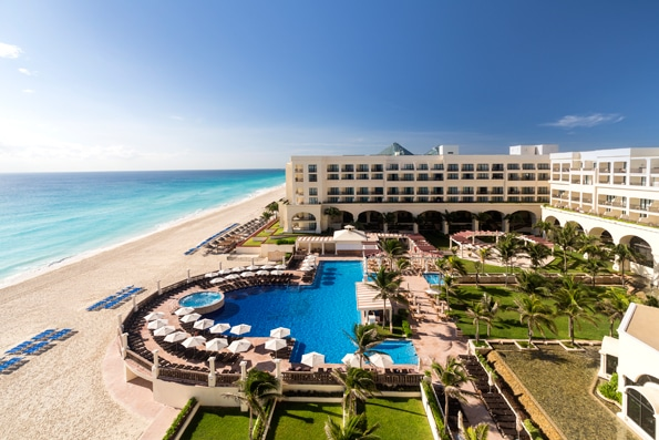 View of pool and beach at CasaMagna Cancun