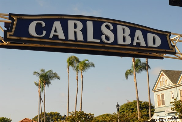 Carlsbad sign in Carlsbad Village, California