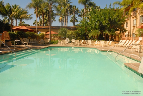 The pool at the Hilton Garden Inn Carlsbad Beach hotel.