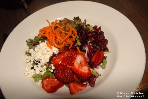 carlsbad local farm strawberry salad at the California Bistro.