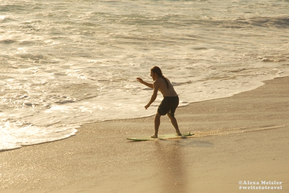 Skimboarding at Tamarack Beach in Carlsbad, California