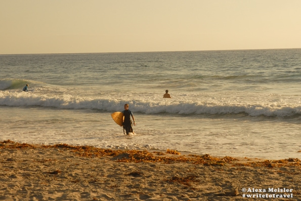 Surfers at Ponto Beach in Carlsbad, California