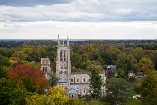 View of the Bryn Athyn Cathedral from the tower of the Glencairn Museum (Bryn Athyn, PA)