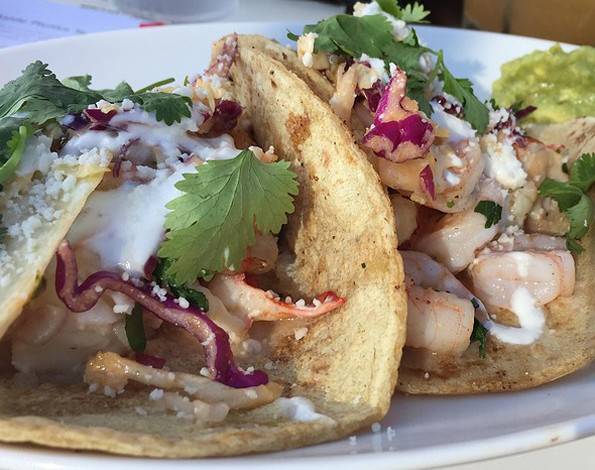 LOBSTER & SHRIMP TACOS at chandlers in carlsbad, california