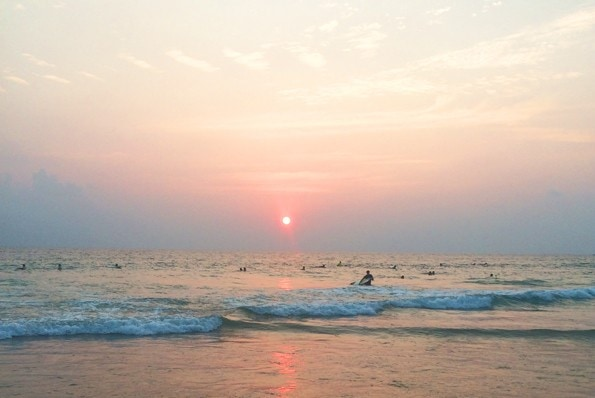 Surfing in Hikkaduwa, Southern Sri Lanka